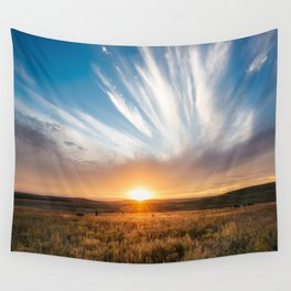 Grand Exit - Golden Sunset on the Oklahoma Prairie Wall Tapestry