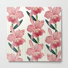 Pink Orchids Beige Pinstripes Metal Print
