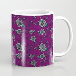 Barbed Roses - Grey on Purple Coffee Mug