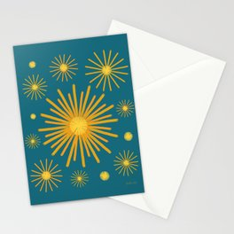 Abstract Hand-painted Golden Fireworks, Vintage Festive Pattern with Beautiful Acrylic Texture, Gold and Blue Teal Color Stationery Cards