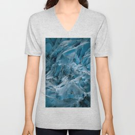 Blue Ice Glacier in Norway - Landscape Photography Unisex V-Neck