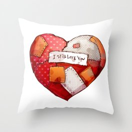 Heart with patches. Valentines day illustration. Throw Pillow