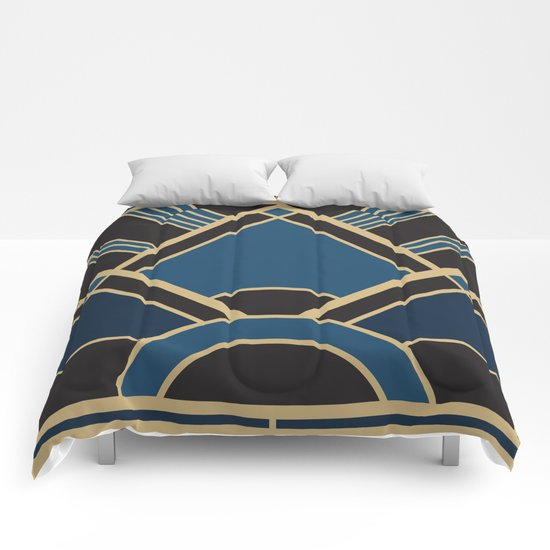 Art Deco New Tomorrow In Blue Comforters