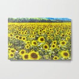 Sunflower Field Art Metal Print
