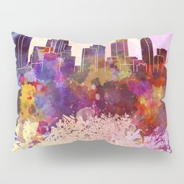 Los Angeles skyline in watercolor background Pillow Sham