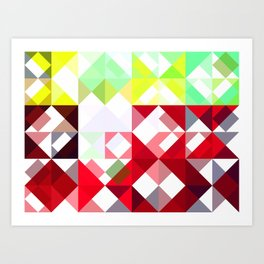 Mixed Color Poinsettias 2 Abstract Triangles 1 Art Print