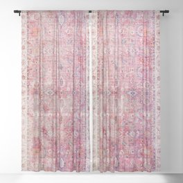 Pink Vintage Antique Oriental Traditional Moroccan Original Artwork Sheer Curtain