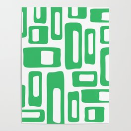 Retro Mid Century Modern Abstract Pattern 336 Green Poster