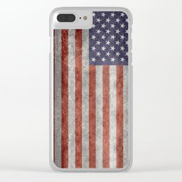 USA flag, High Quality retro style Clear iPhone Case