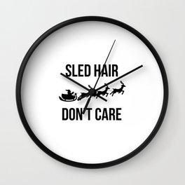 Sled Hair Don't Care Santa Sleigh Christmas Reindeer Wall Clock