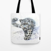 snow leopard Tote Bags featuring snow leopard by KOSTART