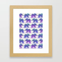 Follow The Leader - Painted Elephants in Royal Blue, Purple, & Mint Framed Art Print