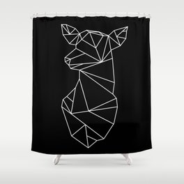 Geometric Doe (White on Black) Shower Curtain
