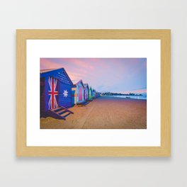 Beautiful Brighton boat houses at sunrise, Melbourne, Australia Framed Art Print