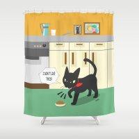 kitchen Shower Curtains featuring In the kitchen by BATKEI