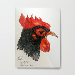 Rooster Head Metal Print