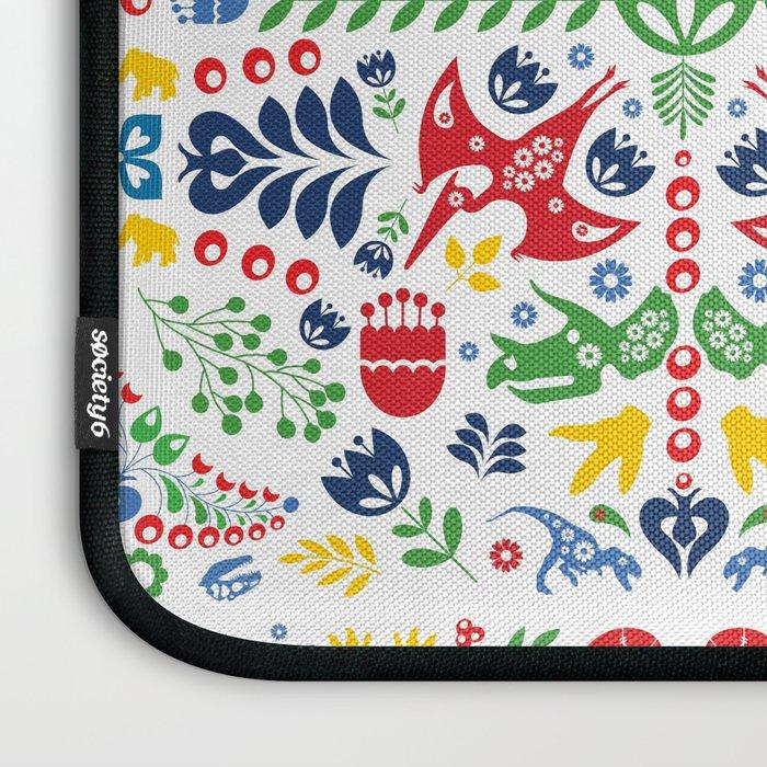 Swedish Folk Art Dinosaurs Laptop Sleeve
