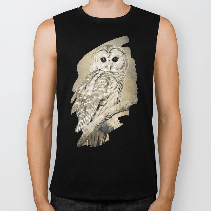 Sepia Owl Biker Tank