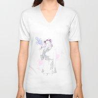 bubblegum V-neck T-shirts featuring bubblegum by tigermlk
