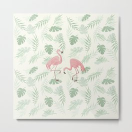 Flamingo Love Tropical Metal Print