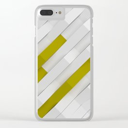 White matte plastic waves with Yellow elements Clear iPhone Case