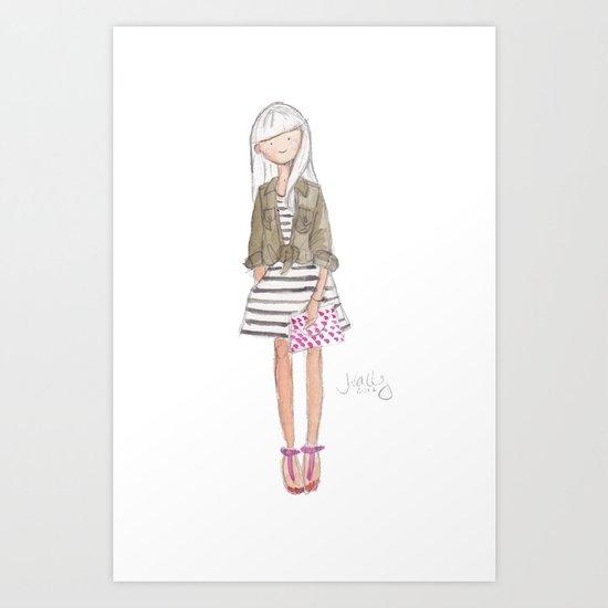 Khaki, Pink, Black & White Art Print
