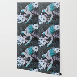 PARROT AND MAGNOLIA IMPRESSION IN BLUE AND LILAC Wallpaper