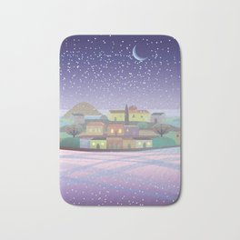 Snowing Village at Night Bath Mat