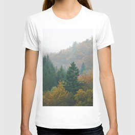 Foggy autumn forest layers disappearing in fog T-shirt
