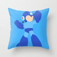mega man Throw Pillows featuring Mega Man(Smash)Black by ejgomez