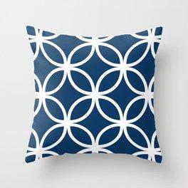 Navy Geometric Circles Throw Pillow