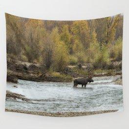 Moose Mid-Stream - Grand Tetons Wall Tapestry