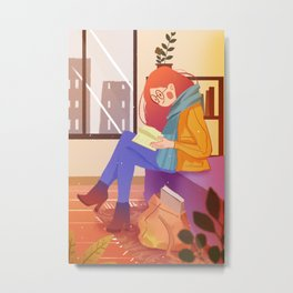 Reading Girl In Room Metal Print