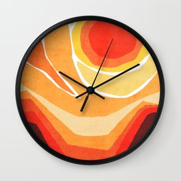 Modern Mid-Century Desert Sunset Wall Clock