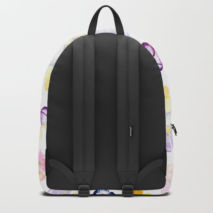 colorful pansies watercolor painting Backpack