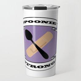Spoonie Strong - Purple background Travel Mug
