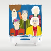 movies Shower Curtains featuring 2015 (Faces & Movies) by Alain Bossuyt
