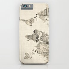 Map of the World Map from Old Postcards iPhone 6 Slim Case