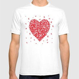 Heart - summer card design, red butterfly on white background T-shirt