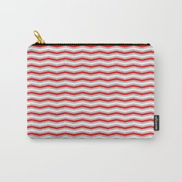 Red Silver and White Christmas Wavy Chevron Stripes Carry-All Pouch