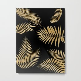 Golden and Black Palm Leaves Metal Print
