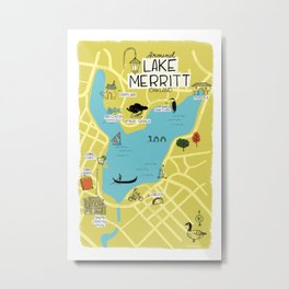 Around Lake Merritt, Oakland Map Metal Print