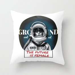 The Future is female space astronaut girl Throw Pillow