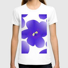 Large Retro Blue Flowers #1 White Background #decor #society6 #buyart T-shirt