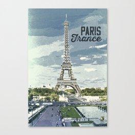 Paris, France / Vintage style poster Canvas Print