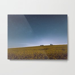 Barn Under Blue Over Yellow Metal Print