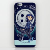 coraline iPhone & iPod Skins featuring Coraline Strength Tarot Card Color by Corinne Elyse
