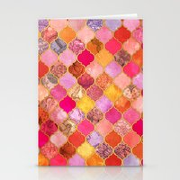 bedding Stationery Cards featuring Hot Pink, Gold, Tangerine & Taupe Decorative Moroccan Tile Pattern by micklyn
