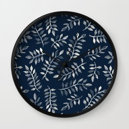 White Leaves on Navy - a hand painted pattern Wall Clock