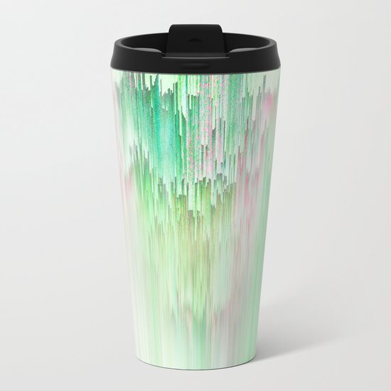 Abstract Cascade Glitch 1.Green Metal Travel Mug